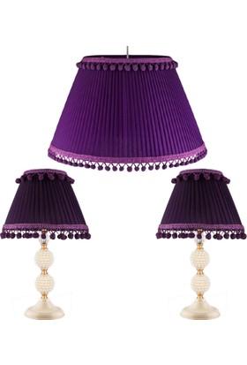 Fivorno Mini Perla Serisi Mor Ponponlu Lena Ayaklı 3'lü Yatak Odası Seti