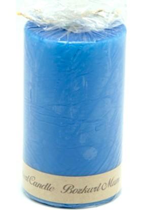 Kazanabil Silindir Şeklinde Mum Mavi 7x12 cm