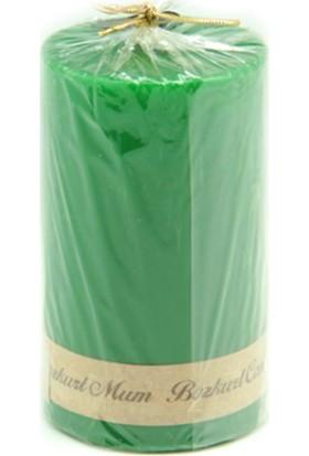 Kazanabil Silindir Şeklinde Mum Yeşil 7x12 cm