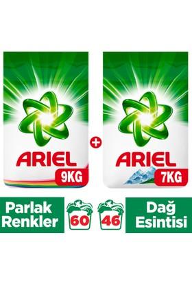 Ariel Toz Çamaşır Deterjanı Parlak Renkler 9 kg + Dağ Esintisi 7 kg