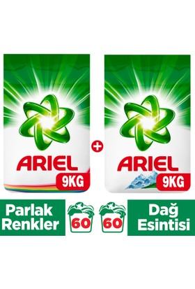 Ariel Toz Çamaşır Deterjanı Dağ Esintisi 9 kg + Parlak Renkler 9 kg