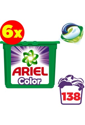 Ariel Pods Sıvı Çamaşır Deterjanı Kapsülü Parlak Renkler 6 x 23 Yıkama (138 Yıkama)