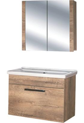 Hepsiburada Home Saydam Stil 80 cm Banyo Dolabı Meşe