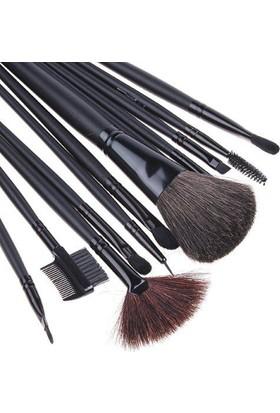 Hannah Siyah 12 Parça Deri Çantalı Makyaj Fırça Seti