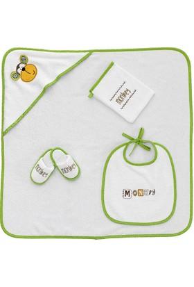 Z&R Home Bambu 4 Parça Bebek Kundak Seti - Monkey
