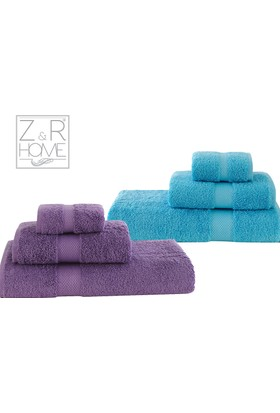 Z&R Home Pamuk 2'Li Banyo Havlu Seti Select Turkuaz - Koyu Lila