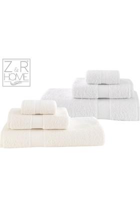 Z&R Home Pamuk 2'Li Banyo Havlu Seti Select Beyaz - Krem