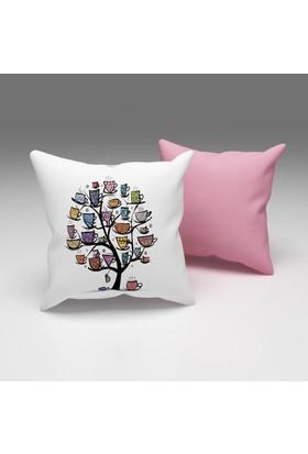 Erenev Ağaçta Fincanlar Dekoratif Yastık Kılıfı Ern07029001
