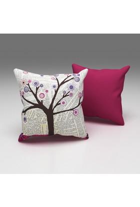 Erenev Gazetede Ağaç Dekoratif Yastık Kılıfı Ern07010801