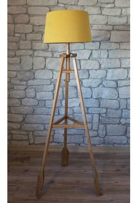 Ağaç Ustası Remi 3 Ayaklı Lambader Naturel Sarı Şapka