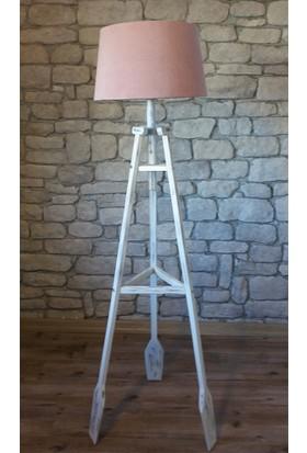Ağaç Ustası Remi 3 Ayaklı Lambader Beyaz Pembe Şapka