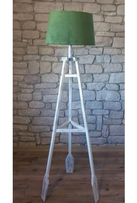 Ağaç Ustası Remi 3 Ayaklı Lambader Düz Yeşil Şapka