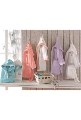 Ecocotton Organik Pamuk 7-8 Yaş Çocuk Bornoz - Smilay Cat Beyaz-Pudra
