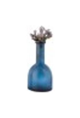 Evdebir Home Dekoratif Mercanlı Mavi Eskitme Cam Şişe