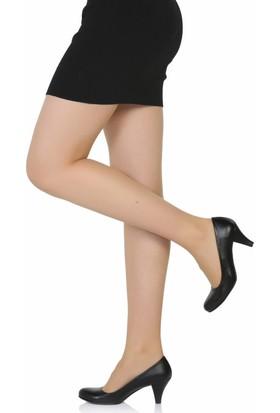 Sothe Ba-1006 Kadın Siyah Deri Klasik Kısa Topuklu Günlük Ayakkabı