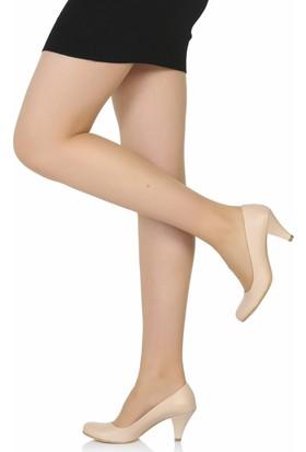 Sothe Ba-1006 Kadın Ten Deri Klasik Kısa Topuklu Günlük Ayakkabı
