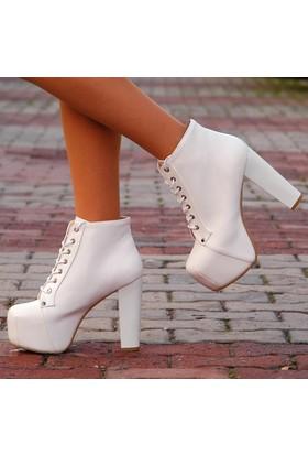 Sothe Ba-1010 Kadın Beyaz Deri Platform Topuklu Bot