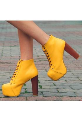 Sothe Ba-1010 Kadın Sarı Deri Platform Topuklu Bot