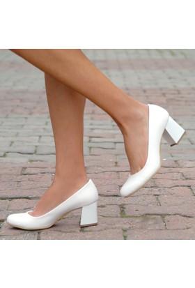 Sothe Ba-1016 Kadın Beyaz Deri Kısa Kalın Topuklu Stiletto