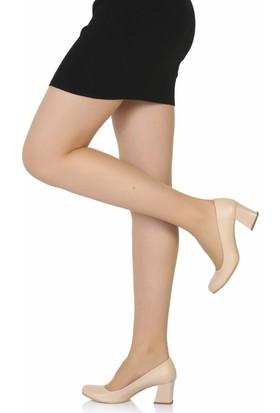 Sothe Ba-1016 Kadın Ten Deri Kısa Kalın Topuklu Stiletto