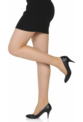 Sothe Ba-1017 Kadın Siyah Deri Kısa Topuklu Stiletto