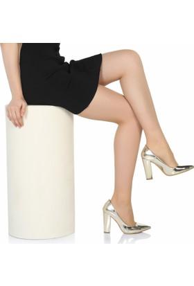 Sothe Ba-1023 Kadın Altın Ayna Kalın Topuklu Stiletto