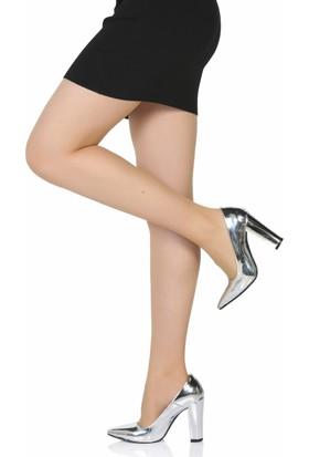 Sothe Ba-1023 Kadın Gümüş Ayna Kalın Topuklu Stiletto
