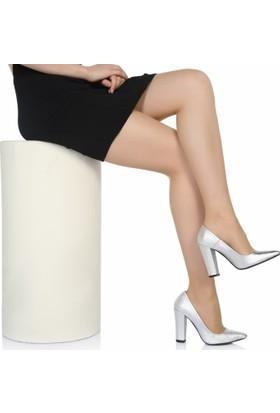 Sothe Ba-1023 Kadın Gümüş Lavezzi Kalın Topuklu Stiletto