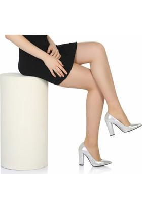 Sothe Ba-1023 Kadın Gümüş Parlak Kalın Topuklu Stiletto