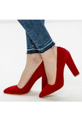 Sothe Ba-1023 Kadın Kırmızı Süet Kalın Topuklu Stiletto