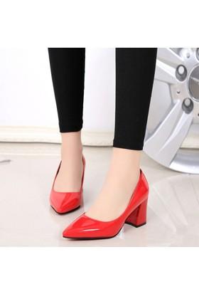 Sothe Ba-1024 Kadın Kırmızı Rugan Kısa Kalın Topuklu Stiletto