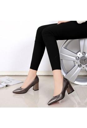 Sothe Ba-1024 Kadın Platin Mat Ayna Kısa Kalın Topuklu Stiletto