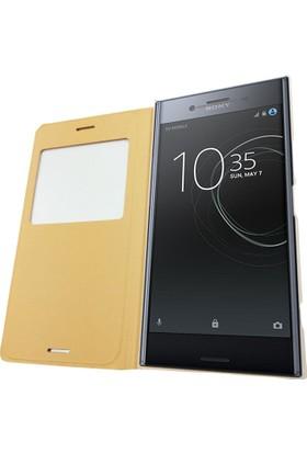 Sonmodashop Sony Xperia XZ Premium Flip Cover Pencereli Kapaklı Kılıf
