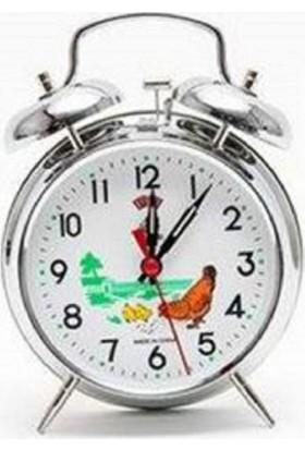 Nostaljik Kurmalı Tavuklu Çalar Metal Masa Saati