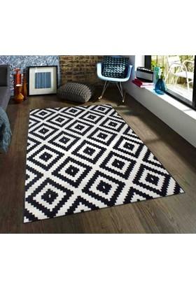Saray Halı 012 Ela 120x170 cm Mozaik Desen Siyah Beyaz Modern Halı