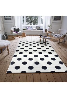 Saray Halı 015 Ela 120x170 cm Puantiyeli Siyah Beyaz Modern Halı
