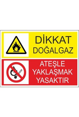 Este Uyarı Levhaları Dikkat Doğalgaz Ateşle Yaklaşmak Yasaktır 25 X 35 Cm Uyarı Levhası