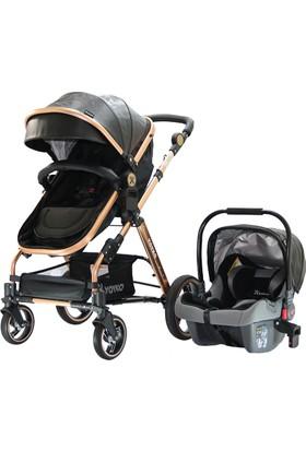 Yoyko Deluxe Travel Sistem Bebek Arabası 3 in 1 Siyah Rose Deri