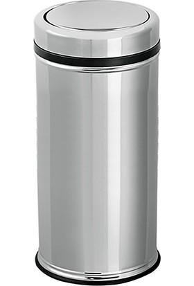 Flosoft Pratik Kapaklı Paslanmaz Çöp Kovası 27 Lt