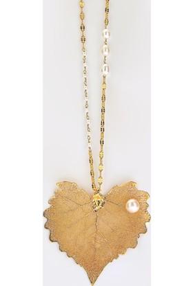 Sufi Design, 24K Altın Kaplama, Büyük Boy Gerçek Yaprak, Gümüş İncili Kolye Hbr3266