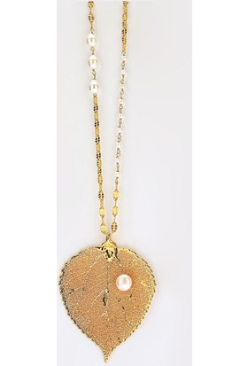 Sufi Design, 24K Altın Kaplama, Büyük Boy Gerçek Yaprak, Gümüş İncili Kolye Hbr3277