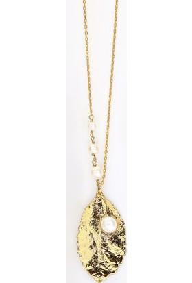 Sufi Design, 24K Altın Kaplama, Küçük Boy Gerçek Yaprak, Gümüş İncili Kolye Hbr3237