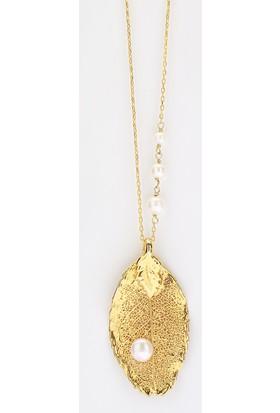 Sufi Design, 24K Altın Kaplama, Küçük Boy Gerçek Yaprak, Gümüş İncili Kolye Hbr3249