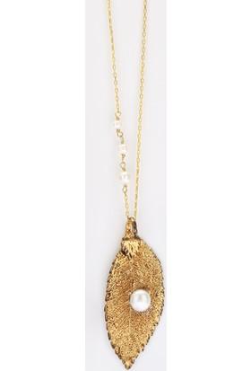 Sufi Design, 24K Altın Kaplama, Küçük Boy Gerçek Yaprak, Gümüş İncili Kolye Hbr3256