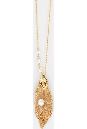 Sufi Design, 24K Altın Kaplama, Küçük Boy Gerçek Yaprak, Gümüş İncili Kolye Hbr3259