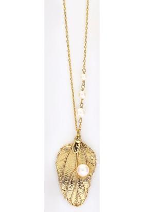 Sufi Design, 24K Altın Kaplama, Küçük Boy Gerçek Yaprak, Gümüş İncili Kolye Hbr3260