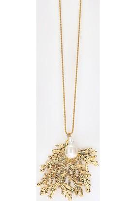 Sufi Design, 24K Altın Kaplama, Orta Boy Gerçek Yaprak, Gümüş İncili Kolye Hbr3307