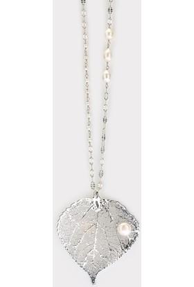 Sufi Design, Has Gümüş Kaplama Büyük Boy Gerçek Yaprak, Gümüş İncili Kolye Hbr3271