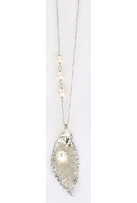 Sufi Design, Has Gümüş Kaplama Küçük Boy Gerçek Yaprak, Gümüş İncili Kolye Hbr3228