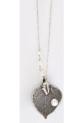 Sufi Design, Has Gümüş Kaplama Küçük Boy Gerçek Yaprak, Gümüş İncili Kolye Hbr3229